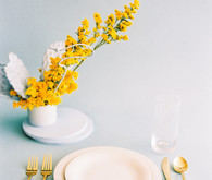 blue and yellow modern wedding inspiration