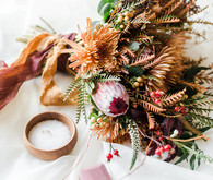Organic fall wedding inspiration and bridal bouquet