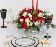 Fancy holiday place setting with Teleflora on 100 Layer Cake