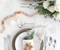 Natural scandi-inspired holiday place setting with Teleflora on 100 Layer Cake