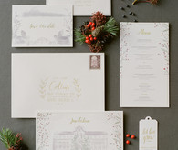 Elegant winter Christmas wedding invitations