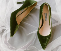 Green velvet Prada wedding shoes