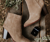 Bridal boots for fall camp wedding