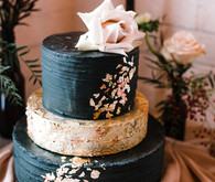 Black and blush wedding cake