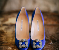 Blue Manolo Blahnik wedding shoes