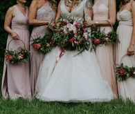 blush bridesmaid dresses and pink bouquets
