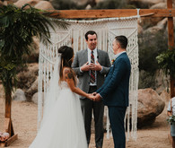 Sunset desert wedding at The Ruin Venue in Joshua Tree