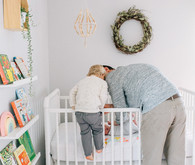 Vintage modern girl's nursery and newborn photos
