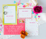 Bright whimsical wedding invites