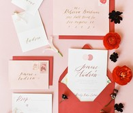 Pink and red wedding invite suite