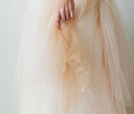 Layered blush wedding dress