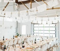 All white modern wedding reception