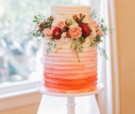 ombre floral wedding cake