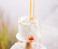 Petite elegant white wedding cake