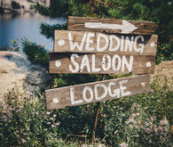 Rustic wooden wedding sign