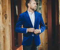 Blue indie groom's suit