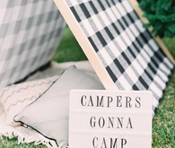 Modern camp themed 1st birthday party