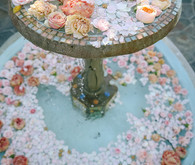 Fountain full of flowers for wedding decor