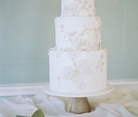 white floral wedding cake