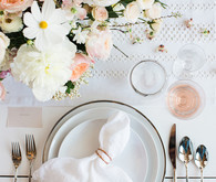 Feminine french inspired place setting with Crate and Barrel