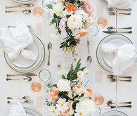 Feminine french inspired blush and white table with Crate and Barrel