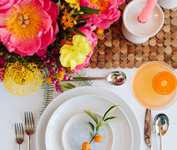 Bright modern Palm Springs place setting with Crate and Barrel