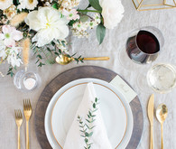 Elegant rustic place setting with Crate and Barrel