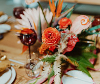Artful hip earth-tone wedding at Office Party in LA