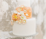 peach floral wedding cake