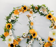 DIY faux flower peace sign