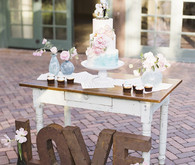 Whimsical pink and blue music-inspired wedding at Allied Arts Guild in Menlo Park