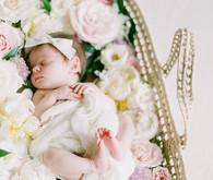 Dreamy floral newborn session on film