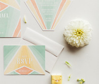 Miami inspired wedding stationery