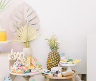 Modern pastel backyard first birthday party