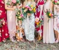 Mixed floral bridesmaid dresses