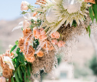 An all pink Palm Springs wedding (and venue!) with copper and pampas grass