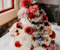 Super floral fall wedding cake