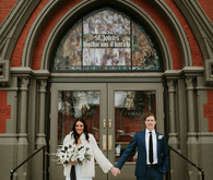All white urban winter wedding in Cincinnati