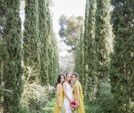 Garden editorial with yellow bridesmaid dresses