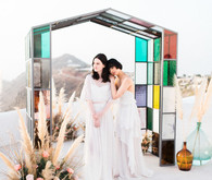 Art nouveau inspired Glasshouse wedding at Rocabella Hotel in Santorini
