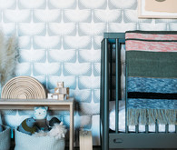 Sophisticated modern gender neutral nursery with Crate and Kids on 100 Layer Cakelet