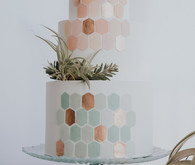 blush and pale mint wedding cake