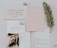 blush and pale mint wedding invitations