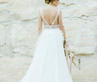 gorgeous cut out lace detail wedding dress