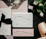 Moody winter Degas-inspired wedding invitations