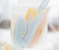 artful winter wedding cake