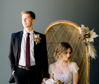Gorgeous modern wedding portraits with boho chairs