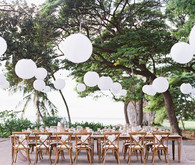 Romantic mauve Maui wedding with the most magical reception setting at Olowalu Plantation House