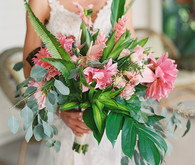 huge tropical bridal bouquet