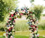 Floral wedding ceremony decor at Greengate Ranch in San Luis Obispo